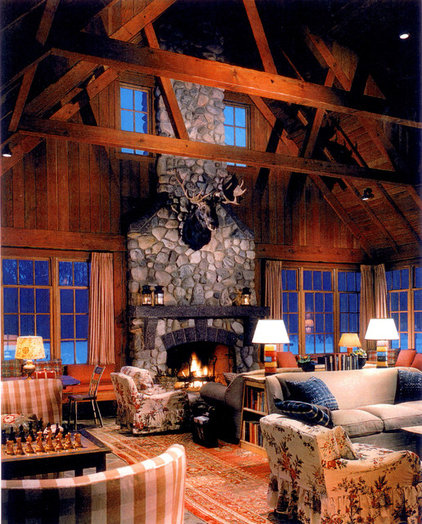 Rustic Family Room by David Fleener Architects, Inc.