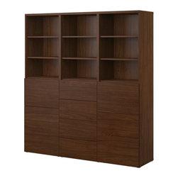 IKEA of Sweden - BESTÅ Storage combination w doors/drawers - Storage combination w doors/drawers, walnut effect