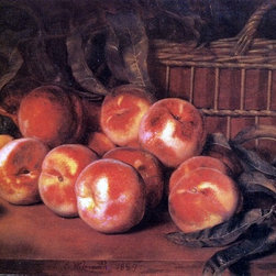 "Lemuel Everett Wilmarth Peaches - 18"" x 24"" Premium Archival Print - 18"" x 24"" Lemuel Everett Wilmarth Peaches premium archival print reproduced to meet museum quality standards. Our museum quality archival prints are produced using high-precision print technology for a more accurate reproduction printed on high quality, heavyweight matte presentation paper with fade-resistant, archival inks. Our progressive business model allows us to offer works of art to you at the best wholesale pricing, significantly less than art gallery prices, affordable to all. This line of artwork is produced with extra white border space (if you choose to have it framed, for your framer to work with to frame properly or utilize a larger mat and/or frame).  We present a comprehensive collection of exceptional art reproductions byLemuel Everett Wilmarth."