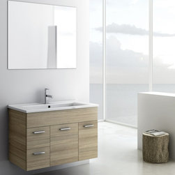 ACF - 33 Inch Bathroom Vanity Set - Set Includes: . Vanity Cabinet (2 doors, 2 drawers). Fitted ceramic sink (33.6 inch x 17.7 inch ). Mirror (W 33.5 inch x H 28.3 inch ). Vanity Set Features:. Vanity cabinet made of engineered wood. Cabinet features waterproof panels. Available in Larch Canapa, Grey Oak Senlis. Cabinet features 2 doors and 2 soft-closing drawers. Faucet not included. Perfect for modern bathrooms. Made and designed in Italy. Includes manufacturer 5 year warranty.