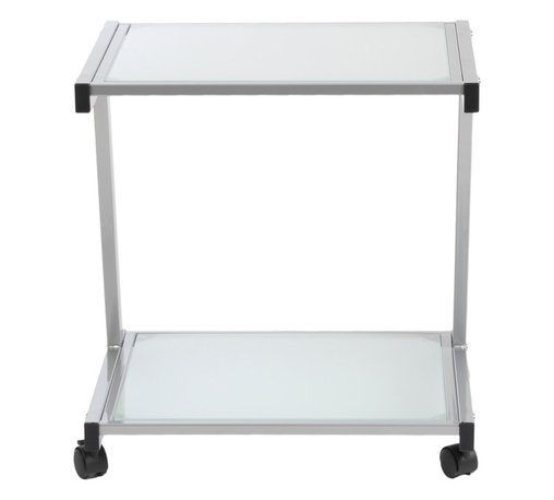 Euro Style - L Printer Cart Alum/Frosted - Aluminum/Frosted Glass - Finished to match the L Desk, this cart has plenty of room for larger printer and supplies. And with four casters, it's ready to roll.