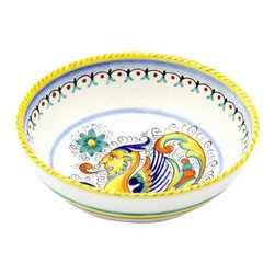 Artistica - Hand Made in Italy - Raffaellesco: Round Traditional Pasta/Soup/Cereal Bowl - Raffaellesco Collection: Among the most popular and enduring Italian majolica patterns, the classic Raffaellesco traces its origin to 16th century, and the graceful arabesques of Raphael's famous frescoes.