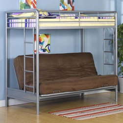 Dorel Home Products - Twin Over Full Futon Metal Loft Bed - NOTE: ivgStores DOES NOT offer assembly on loft beds or bunk beds. Futon and bed mattresses not included. Full length guardrails for added safety. Twin size on top and lower full size futon bed. Futon quickly converts to full size sleeper. Warranty: One year. Made from metal. 78.9 in. L x 41.7 in. W x 70.1 in. H (130 lbs.). Bunk Bed Warning Please read before purchase.Bringing style and a functional sleeping space into your home is easy with this modern bunk bed. It is great for siblings, sleep-overs, and story time.