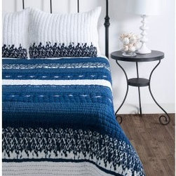 Rizzy Home Donovan Quilted Bed Set - The traditional comfort of the quilt gets a striking modern update with the Rizzy Home Donovan Quilted Bed Set. The bold contrast of blue and white make for a chic look, while details like embroidery really set it apart. Machine washable, available in your choice of size.Comforter Dimensions:Twin: 68L x 92W in.Full/Queen: 92L x 96W in.King: 96L x 108W in.About Rizzy HomeRizwan Ansari and his brother Shamsu come from a family of rug artisans in India. Their design, color, and production skills have been passed from generation to generation. Known for meticulously crafted, handmade wool rugs and quality textiles, the Ansari family has built a flourishing home-fashion business from state-of-the-art facilities in India. In 2007, they established a rug-and-textiles distribution center in Calhoun, Georgia. With more than 100,000 square feet of warehouse space, the U.S. facility allows the company to further build on its reputation for excellence, artistry, and innovation. Their products include a wide selection of handmade and machine-made rugs, as well as designer bed linens, duvet sets, quilts, decorative pillows, table linens, and more. The family business prides itself on outstanding customer service, a variety of price points, and an array of designs and weaving techniques.