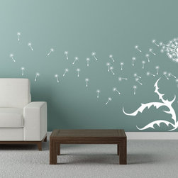 Cherry Walls - Dandelion Wall Decal - Close your eyes and make a wish. This larger-than-life decal is a dream come true with scrolling leaves and two cheerful dandelion buds, complete with floating seeds. Adorn your den, office or bedroom wall with an airy, contemporary design that will transform any room into your happy place.