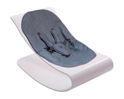bloom - Bloom Coco Beach House White Stylewood Baby Lounger with Diesel Denim Seat Pad - Lounge. Rock. Relax. Coco Bloom belongs in contemporary living spaces with its iconic form and comfortable nest for baby. Features: curved, single-piece frame with cozy comfort seat smooth self-rocking motion 5 point padded safety harness, adjustable for a growing baby easy to clean and maximum comfort no assembly required suitable for: from new born to 26 lbs net weight: 15 lbs manufactured to conform with globally recognized safety standards Coco stylewood is crafted from pressed beech and birch wood veneers from certified sustainable wood forests. Coco baby lounger is tested to be lead free, phthalate free, PVC free, heavy metal free, and AZO dye free and exceeds all applicable safety standards.