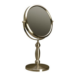 Floxite - Extra Strong Vanity Mirror - Powerful 15x magnifying glass on one side. 1x regular mirror on the other side for actual true view. Distortion free DFP glass. Adjustable angle for easy viewing. Viewing area: 7 in.. Made from metal and glass. Brushed nickel finish. No assembly required. Mirror frame: 7.75 in. Dia.. Weighted base: 5.25 in. Dia.. Overall: 9.5 in. W x 5.5 in. D x 15 in. H (3lbs.)