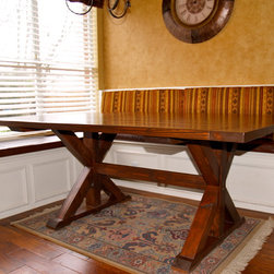"""Kitchen Furniture - The table in this picture showcases our trestle table design, called The Corinth. This particular kitchen table is 74""""W x 56""""W, but various sizes are available. Features include American Walnut stain,"""