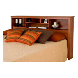 Prepac - Prepac Cherry King Bookcase Headboard - Add storage space to your bedroom with the king bookcase headboard. Designed to complement any decor, this headboard comes with six storage compartments for your bedside necessities and accessories. The varying compartment sizes add visual appeal and give you display options for large and small items. This free-standing piece is designed to be paired with any standard king bed including our king mate's platform storage bed.