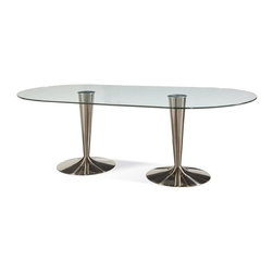 Bassett Mirror - Oval Dining Table - Clear bonded glass top. Table top: 42 in. Dia. x 86 in. H. Base: 24 in. Dia. x 29 in. H
