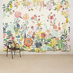 "Anthropologie - Great Meadow Mural - This ""Great Meadow"" mural by Anthropologie is completely out of my price range, but it is too pretty not to share. Full of rich, vibrant colors, I think it would be beautiful in a sunroom or any space that you can sit back and enjoy its beauty."
