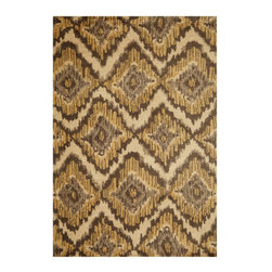 "Grandin Road - Jasper Area Rug - 2' x 3' - Soft, durable rug in warm, neutral hues. Hand-tufted, looped construction. 100% soft polyester. 1/2"" thick. Extend the life of your rug with a nonslip rug grip (sold separately). With a graphic diamond pattern in beige and gray hues, our ikat-inspired Jasper rug offers comfort underfoot with beautiful modern flair for your floor. Each expertly hand-tufted area rug is finished with a looped pile of soft polyester, stitched to a polyester backing.. . . . . Imported."