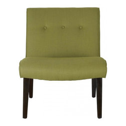 Safavieh - Saleem Chair - The retro-chic lines channeling the office chairs that made their way to living rooms across America in the 60's define the sweet pea green-upholstered Saleem accent chair. Trendy in its simplicity, Saleem features birch wood legs of the period in black finish, and is upholstered in a blend of linen, cotton and synthetic yarns for easy care.