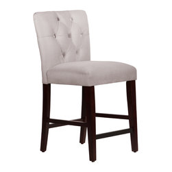 None - Made to Order Tufted Mor Grey Counter Stool - The beautiful gray upholstery and lovely espresso-finished legs of this stool provide an appealing,contrasting aesthetic,creating the perfect enhancement for your home decor. Plush foam padding beneath the 100-percent polyester fabric ensures comfort.