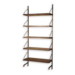 Kathy Kuo Home - Rennie Industrial Reclaimed Elm Iron Wall Shelf - Large - Natural reclaimed elm and elegant angular iron combine beautifully in these mounted wall shelves. Choose from large or small, according to your needs. Both size handsomely house your displays in style and grace.