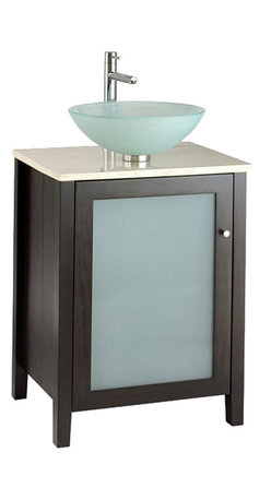 """American Standard - American Standard 9445.024.339 Cardiff Vanity, Espresso - This American Standard 9445.024.339 Cardiff Vanity is part of the Cardiff collection, and comes in a beautiful Espresso finish. This vanity features a contemporary styling, a poplar wood construction with birch veneers, a frosted glass door insert, and it measures 24"""" by 20"""" by 31-1/4""""."""