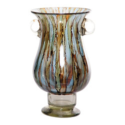 "Couleur - Cool Water Two Handled Glass Urn - Handcrafted by artisan glass blowers the Cool Water Two Handled Glass Urn is a wonderfully decorative and functional art glass accessory.  Because this is made of hand blown glass measurements are approximate - Each item will vary slightly in size and color.Specifications Dimensions: Are approximate because of the handmade nature of this product. (length x width x height) Overall: L 9"" x W 9"" x H 14"" (approximately)Made in: Mexico (MEX)  Style: Room: Living Room, Dining Room, OfficeUse: Decoration Only - Home Accent, Table Top Decor, Wall Decor, Shelf DecorIndoor / Outdoor: IndoorCare: Wipe clean with a soft damp cloth."