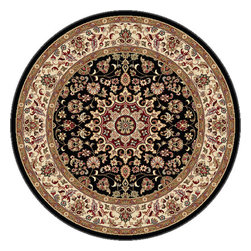 Tayse Rugs - Elegance Black, Green and Blue Round: 7 Ft. 10 In. Rug - - The detailed oriental medallion design of this area rug make a statement of elegance to any room. Soft polypropylene fibers make it soft, warm, and easy to clean. Rich hues of black, gold, red and ivory. Vacuum and spot clean.  - Square Footage: 61  - Pattern: Oriental  - Pile Height: 0.39-Inch Tayse Rugs - 5393  Black  8 Round
