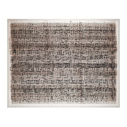 Cacophony Framed Print - From a distance, this impressive art piece seems like a transitional abstract with a deckle-edged, antiqued monochrome field.  Viewed more closely, however, the vibratory composition resolves into staves and time signatures delicately rendered like classic hand-written symphonies: dozens of lines and hundreds of measures of sheet music, layered into a pure expression of pleasing noise.  This horizontal, rectangular framed artwork is floated on linen for additional grace.