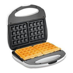 Hamilton Beach - Belgian Waffle Baker - This Proctor-Silex Belgian Waffle Baker makes two square waffles quickly and easily.  It features easy-clean, nonstick grids and Power and Preheat Lights.  Stores upright to save space.