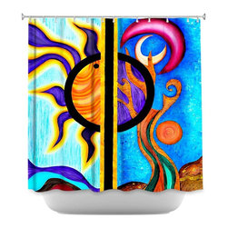 DiaNoche Designs - Shower Curtain - Pom Graphic Day n Night - DiaNoche Designs works with artists from around the world to bring unique, artistic products to decorate all aspects of your home.  Our designer Shower Curtains will be the talk of every guest to visit your bathroom!  Our Shower Curtains have Sewn reinforced holes for curtain rings, Shower Curtain Rings Not Included.  Dye Sublimation printing adheres the ink to the material for long life and durability. Machine Wash upon arrival for maximum softness on cold and dry low.  Printed in USA.