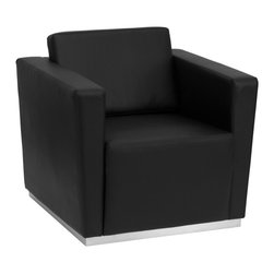Flash Furniture - Flash Furniture Accent Chair X-GG-KB-RIAHC-4908-YTINIRT-BZ - This contemporary black leather reception chair will bring a clean and professional look to your reception area. This chair will adapt in a variety of environments with its clean line appearance, thick fixed cushion seats and overall comfort level. [ZB-TRINITY-8094-CHAIR-BK-GG]