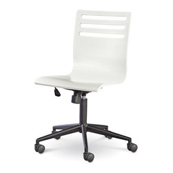 Universal - Smart Stuff - Classics 4.0 Summer White Swivel Desk Chair - Doing homework is a lot more fun when you're sitting in the Swivel Desk Chair by Universal Furniture. Coated in a Summer White finish and styled with sleek, modern lines, this graceful desk chair has all the features necessary to keep your child at attention and on task. The adjustable height and tilting seat are a great aspect of this piece, making it easy to manage comfort. Sitting atop five castered legs, this quality piece is the perfect white desk chair to complete your child's workspace.