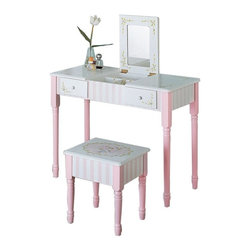 Fantasy Fields - Teamson Design Bouquet Flip Up Vanity and Stool Set with Slatted Rocking Chair M - Shop for Vanities from Hayneedle.com! Give your little one an ideal primping station with both items from the Teamson Design Bouquet Collection. You get 3 matching pieces with the vanity and stool set along with the rocking chair. The finely crafted vanity set includes a vanity table with matching stool. This vanity has dual use; te mirror flips up for vanity or closes to use as a desk. Accomponied by a cute matching slatted rocking chair. Each piece is constructed of sturdy solid wood and features a pastel pink finish with delicate floral details. The vanity measures 12L x 25.5W x 39H inches; rocking chair dimensions: 18.5L x 14.5W x 22H inches. Some assembly is required. About Teamson Design Corp.Teamson is a wholesale gift and furniture company based in Edgewood New York. Known for their wide selection of products Teamson has been providing for customers since 1997 and produces high-quality items that are sure to delight you and your family. Trust in Teamson for all of your home decor furniture and gift-giving needs.