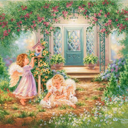 Murals Your Way - Grow With Tenderness Wall Art - While enjoying a beautiful garden, one little angel talks to a bluebird as the other angel pets two white bunnies