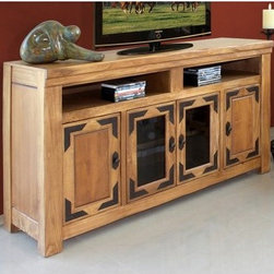 Lodge 60-Inch TV Stand - If you can't escape to your mountain retreat at least add the relaxing outdoors atmosphere to your home with the bright and beautiful Lodge Collection. The rustic charm of this solidly constructed TV stand provides a bit of down-home style and durability. Crafted with care from cottonwood and alder wood it will stand the test of time able to hold tapes CDs and DVDs all in one storage tray. Plus almost all HDTVs are compatible with the stand. A wood-tone lacquer coats the stand giving it rich color and clarity. Dimensions: 60.5L x 20.75W x 36H inches.About International Furniture DirectInternational Furniture Direct has grown to be a premier supplier of bedroom furniture dining room furniture entertainment centers and other pieces which will complement your decor. The designs of the company focus on lifestyle collections that offer great style with functionality and upscale construction techniques.