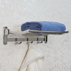 Solid Brass Folding Towel Rack - The Solid Brass Folding Towel Rack will instantly add storage space to any size bathroom. Made of solid brass, this towel rack can fold upward when not in use and features three sets of double hooks for ultimate storage.