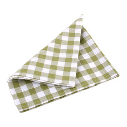 Ladelle - Gingham Green Napkins, Set of 4 - We definitely have a thing for Gingham. This collection is made of 100% cotton, with matching tablecloths, placemats, table runners and napkins. Makes a stylish addition to any picnic, summer BBQ or family dinner at home.
