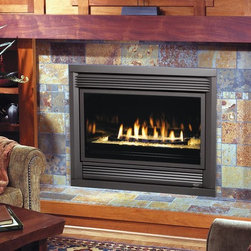 Avalon by Travis Industries - Avalon Seattle 564 Diamond-Fyre GreenSmart Gas Fireplace - Shown with the Rosario Face, Platinum Crushed Glass and Black Enamel Fireback.