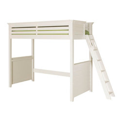 Lea Industries - Lea Furniture Willow Run Twin Tall Loft Bed in Linen White - You can save a ton of room in your childs bedroom by adding this lofted bed with desk to your childs bedroom decor. The piece carries a linen white finish and features a side railing to prevent falling that incorporates gently horizontal panel look into the design. In addition, the ladder creates easy access up and down the bed.