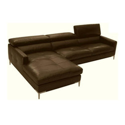 Beverly Hills Furniture Inc. - Spec Full Leather Sectional with Motion Back, Left Chaise - Modernized with contemporary elements like low feather top tufted seating and metal legs, this modern full dark Brown leather sectional with feather top tufted seating is an exceptional fit for your modern living space decor. Rich brown color and leather upholstery lend a stylish look to the sectional's seat and base, adding plush comfort and eye-catching style.