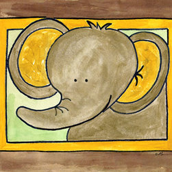 Oh How Cute Kids by Serena Bowman - Here's Looking at You - Elephant, Ready To Hang Canvas Kid's Wall Decor, 20 X 24 - Who's looking at you?  Mr. Elephant, that's who!