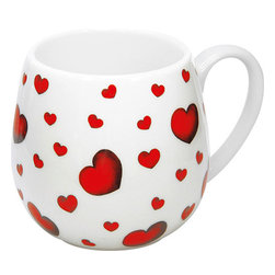 Konitz - Set of 4 Snuggle Mugs Little Hearts - Sip your morning brew from these sweet Snuggle Mugs, with an oversized shape that's perfect to cup in your hands. Adorable little red heart�accents make this set a must-have for you or a loved one.