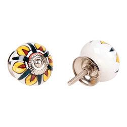 MarktSq - Ceramic Knob with Yellow & Brown Petals - Set of 4 - Unique ceramic knob with big yellow and brown petals. Sold as a set of 4 knobs.