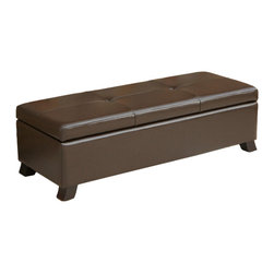 Great Deal Furniture - Canal Leather Storage Ottoman Bench - The canal storage ottoman is upholstered with fine, luxurious, chocolate brown, bonded leather on all sides. Brown leather is timeless, and arguably makes a more classic and elegant statement than any other material or fabric. The top of this ottoman opens to reveal a spacious storage interior, great for seasonal decor, extra pillows or blankets. Use this in your living room, bedroom or office for a piece that offers style and functionality.