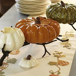 "Gourd Metal Serve Bowl Stand - Create an artisan-quality centerpiece with one of our gourd bowls elevated on this sculptural branch. 30"" long x 13.5"" wide x 6.75"" high Made of aluminum with a bronze finish. Meant to hold our Ceramic Gourd Bowls (sold separately)."