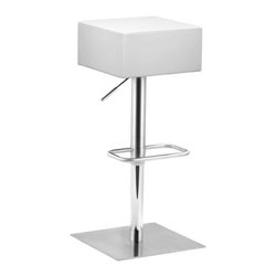 ZUO - Butcher Barstool - White - A slick leatherette square rising from a shiny frame, the Butcher Barstool ticks both the modern and manly boxes. Features an adjustable stainless steel frame. Comes in black or white.