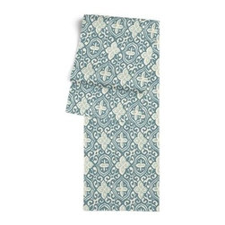 Aqua Moroccan Mosaic Custom Table Runner - Get ready to dine in style with your new Simple Table Runner. With clean rolled edges and hundreds of fabrics to choose from, it's the perfect centerpiece to the well set table. We love it in this teal and aqua block print reminiscent of traditional Moroccan mosaics.