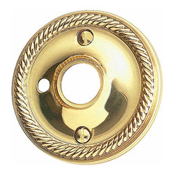 Renovators Supply - Door Knob Roses Bright Solid Brass Braided Knob Rose Privacy Hole | 66075 - Privacy Doorknob Roses: Bright Solid Brass- Braided Roses has our exclusive maintenance free RSF finish. Comes as a pair- where one is designed with a hole to accept a privacy pin and the other rose has no privacy hole. Screws included. Sold in pairs. Measures 2 1/2 in. outer diameter and 5/8 in. inner diameter.