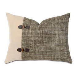Eastern Accents - Rustic Lodge Sham, Standard - Yin, meet Yang. Contrasting fabrics are joined by a pair of leather-and-wood clasps, forming an alliance that's equally at home in the country or city. Toss a pair of these on the bed and watch what happens when opposites attract. Comes complete with a polyester fiber pillow insert and zipper closure, for easy removal.