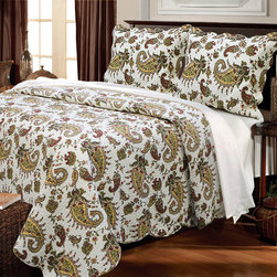 None - Peace of Mind 3-piece Quilt Set - Enliven your bedroom with this paisley motif quilt set, featuring the holy basil plant of India, Tulsi. Made of soft cotton, this Peace of Mind quilt set includes two coordinating shams.