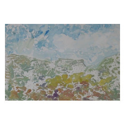 Consigned Vintage Painting of Fall Mountain I, Mountain I - Vintage - Watercolor Lithograph print on heavy paper. Vibrant array of soft pastel colors.