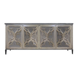 """Oly Studio - Oly Studio Delphine Buffet - Exquisitely carved, Oly Studio's Delphine buffet features mesmerizing style. Global motifs dress the transitional storage piece's four doors in eclectic elegance. 72""""W x 18.25""""D x 32.5""""H; Handcarved hardwood; Clear-seeded resin; Available in several finish options"""