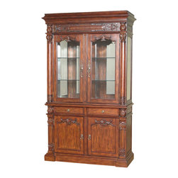 MBW Furniture - 7.5Ft Tall Mahogany China Hutch Lighted Curio Display Showcase Cabinet - This product is finely constructed from top grade kiln-dried solid wood and select hardwood veneers. Its superb quality will add a touch of elegance to your home.