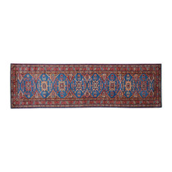 1800 Get A Rug - Super Kazak Runner Sky Blue 100% Wool Hand Knotted Oriental Rug Sh15260 - Our Tribal & Geometric Collection consists of classic rugs woven with geometric patterns based on traditional tribal motifs. You will find Kazak rugs and flat-woven Kilims with centuries-old classic Turkish, Persian, Caucasian and Armenian patterns. The collection also includes the antique, finely-woven Serapi Heriz, the Mamluk Afghan, and the traditional village Persian rug.