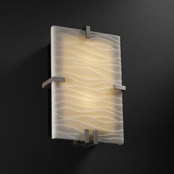 Justice Design Group - Porcelina Clips RectangleTwo-Light Fluorescent Brushed Nickel ADA Wall Sconce - - (2) 13W lamps included. The top clip is removable for re-lamping. ADA.  - Shade Detail - Waves  - Shade Material - Faux Porcelain Resin Justice Design Group - PNA5551WAVENCKL